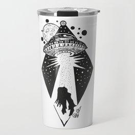"""Taken"" UFO Alien Abduction Originl Artwork, Parnormal, Outer Space Wall Art Travel Mug"