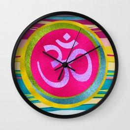 Colorfull Glitter OM symbol on  Pattern Wall Clock