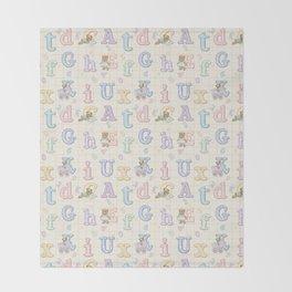 Teddy Bear Alphabet ABC's Throw Blanket