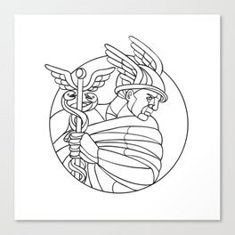Messenger of the Gods Mosaic Black and White Canvas Print
