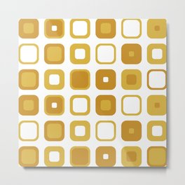 Rounded Squares Geometric Pattern in Mustard Yellows and White Metal Print