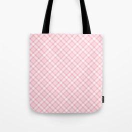 Light Pink Diagonal Plaid Pattern Tote Bag
