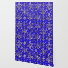 DP044-4 Gold snowflakes on blue Wallpaper