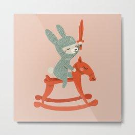 Rabbit Knight Metal Print
