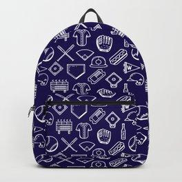 Baseball Print Navy Blue and White Backpack
