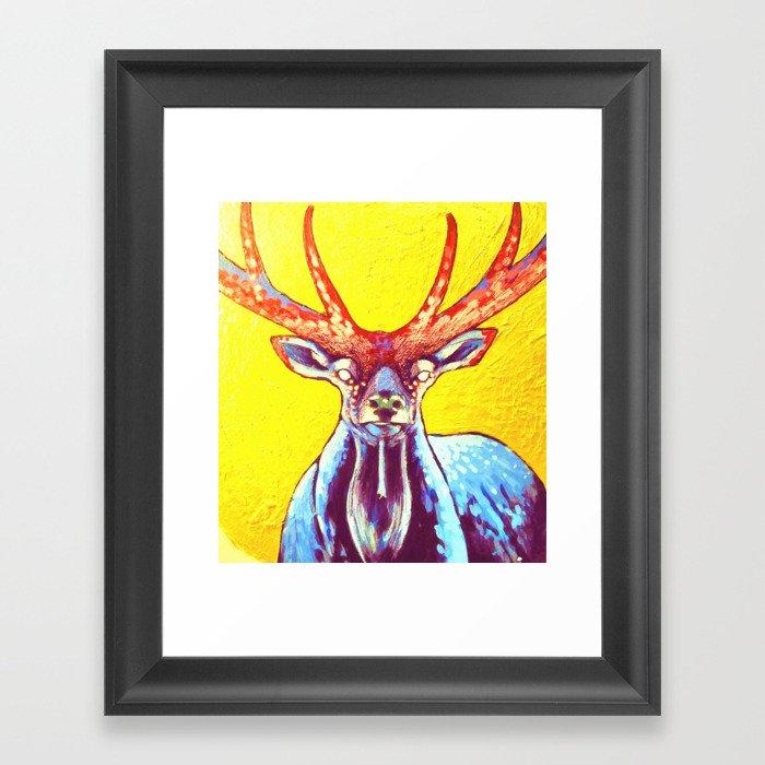 """Cornua ex Deo""Horns of God deer art Framed Art Print"