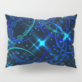 Blue twinkling New Year decorations and stars. Pillow Sham