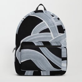Smoky Black And White Pattern Minimalist Mid Century Ghostly Tribe Art Backpack