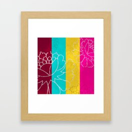 Chinese Flowers & Stripes - Pink Yellow Cyan Red Framed Art Print
