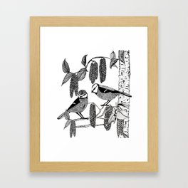 Blue Tits and Catkins Framed Art Print