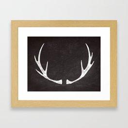 Chalkboard Art - Antlers Framed Art Print