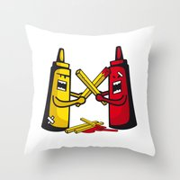 fries Throw Pillows featuring Fries wars by pludadesign