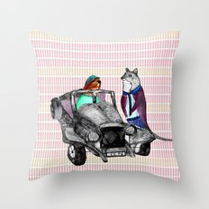 Animals and cars Throw Pillow