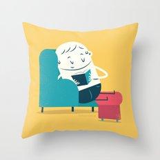 :::Reading on sofa::: Throw Pillow