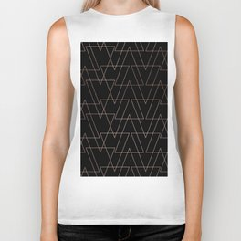 Modern rose gold geometric thin triangles black abstract pattern Biker Tank