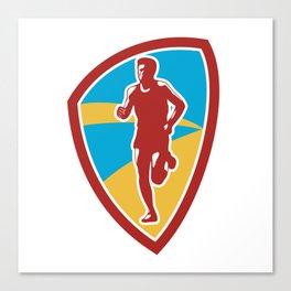Marathon Runner Shield Retro Canvas Print
