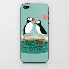 Puffins - Bird Art, Shorebird, Sea bird, birds, Cute illustration by Andrea Lauren iPhone & iPod Skin