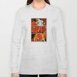 Orange and White Flowers Long Sleeve T-shirt