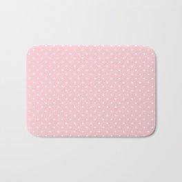 Mini White Polka dots on Pale Millennial Pink Pastel Bath Mat