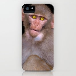 Young Rhesus Macaque Paintover Effect iPhone Case