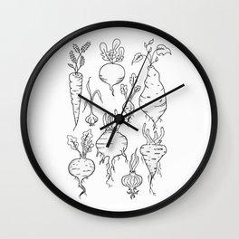 Root Vegetable Study Illustration Wall Clock