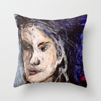 indigo Throw Pillows featuring Indigo by Helen Syron