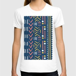 Abstract Mudcloth - Limited Color Palette in Coral Teal Mustard Gray T-shirt