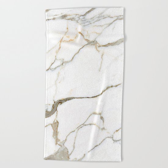 White Marble Beach Towel