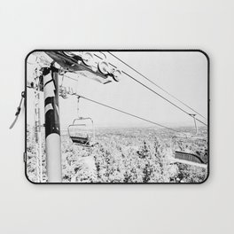 Chairlift // Mountain Ascent Black and White City Photograph Laptop Sleeve