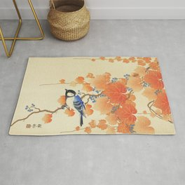 Vintage japanese print of a great tit Rug
