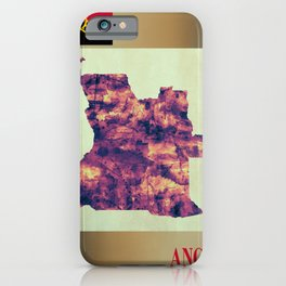 Angola Map with Flag iPhone Case