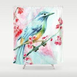 Exotic Blue bird Shower Curtain