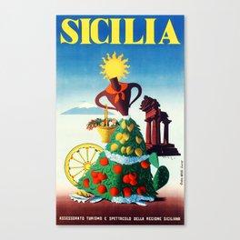 Vintage Sicily travel poster Canvas Print