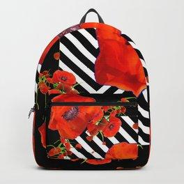 BLACK ORANGE POPPIES MODERN ART GARDEN Backpack