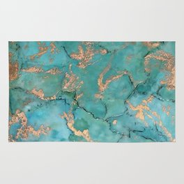 Turquoise and Gold - original painting by Tracy Sayers Trombetta Rug