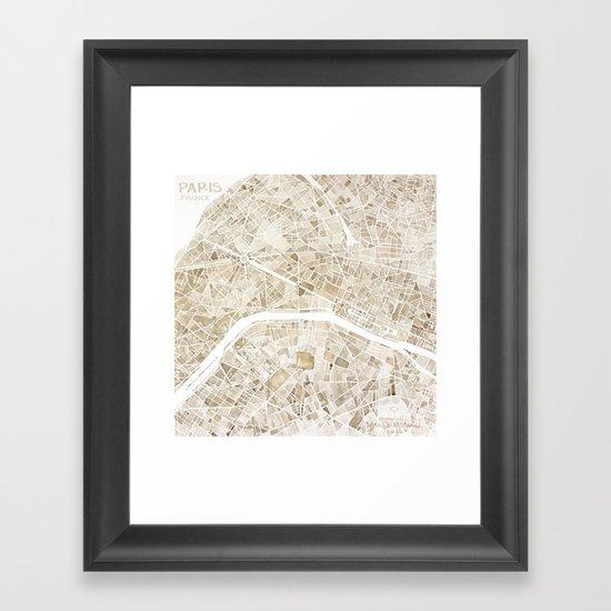Paris France watercolor  city map Framed Art Print