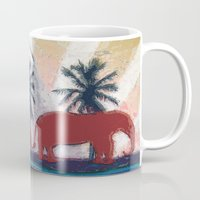 elephants Mugs featuring Elephants by LoRo  Art & Pictures