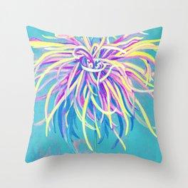 Bright Blue Pop Art Chrysanthemum Throw Pillow