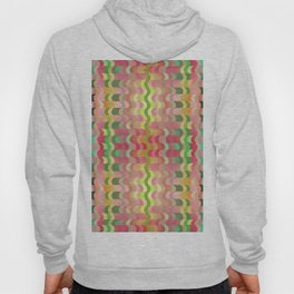 Abstract retro waves print, curtain of colorful elements in pastel colors Hoody