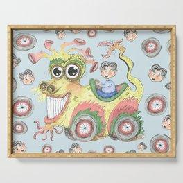 dragon car mobile fantasy w/ little boy, light blue aqua yellow green Serving Tray