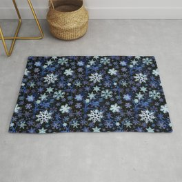 Ice crystals in a frozen lake_ blue winter tones Rug