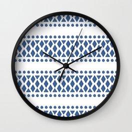 Classic blue and white tribal boho pattern Wall Clock