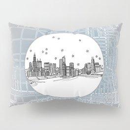 Chicago, Illinois City Skyline Illustration Drawing Pillow Sham
