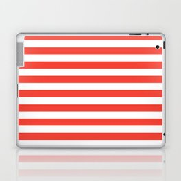 Even Horizontal Stripes, Red and White, M Laptop & iPad Skin