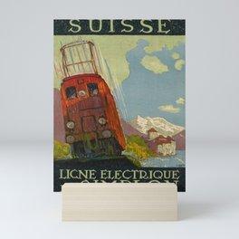 Plakat ligne electrique du simplon suisse Mini Art Print