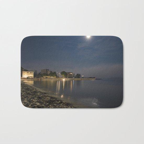 Foggy Moonlit Beach Bath Mat