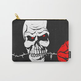Skull with flower between teeth - halloween skull - skeleton cartoon - gothic illustration Carry-All Pouch