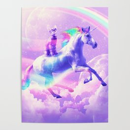 Kitty Cat Riding On Flying Unicorn With Rainbow Poster