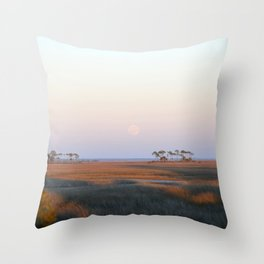 Moonrise on the Salt Marsh Throw Pillow
