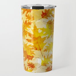 Autumn Oak Leaves Pattern Travel Mug